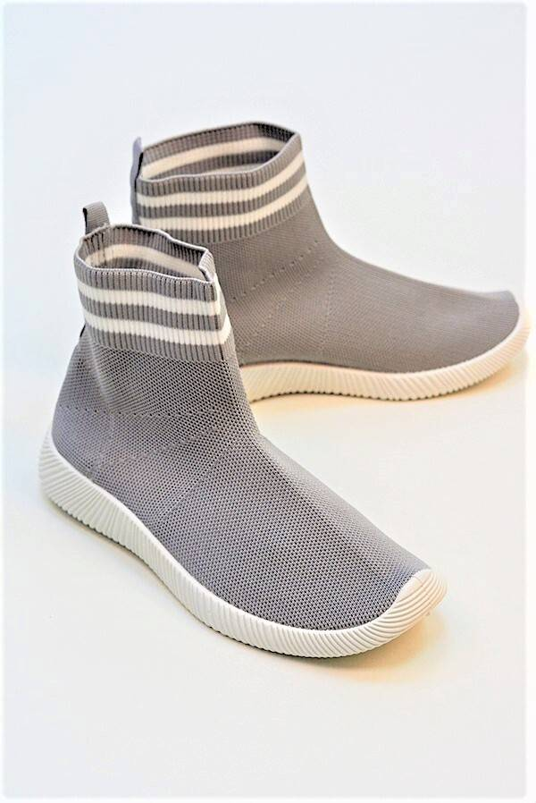 Grey With White Chunky Sole High Runner Sock Trainers J5 Fashion