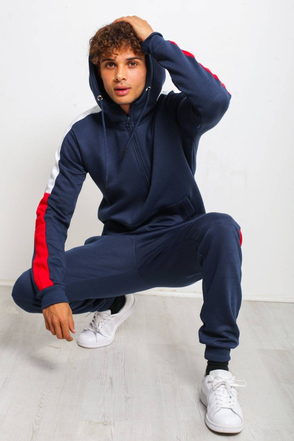 Navy With Red And White Stripe Tracksuit J5 Fashion