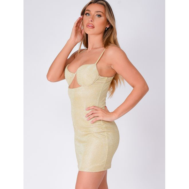 London Metallic Glitter Sparkle Underwired Cut Out Bodycon Dress Nazz Collection